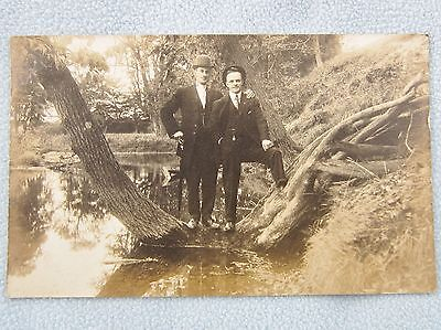 Antique Real Photo Postcard Two Men Standing Tree Lake Canada 1909 Edwardian RP