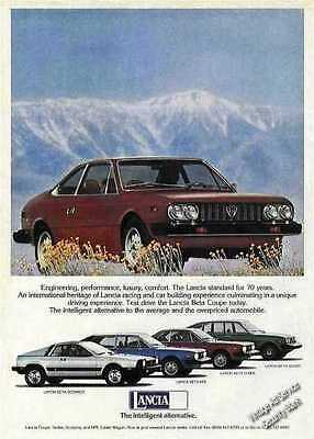 1977 Lancia with Mountains Behind Vintage Car Ad
