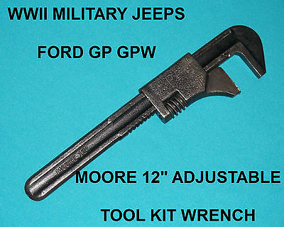 "WWII Vintage US Military Ford GP GPW Jeep Moore 12"" Tool Kit Wrench"