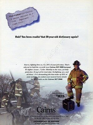 1999 Cairns XLT 2000 Turnout Protective Clothing Original Fire Fighting Ad