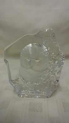 Signed Mats Jonasson,Sweden/Swedish Glass Paperweight/Sculpture - Owl