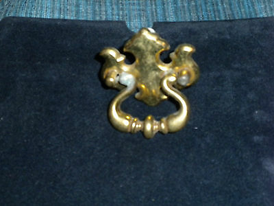 Vintage Brass Plated Drop Bale Colonial or Chippendale Drawer Pull