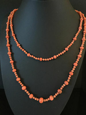 Antique Victorian Natural Coral bead 2 row Necklace on 9ct gold clasp, 25.9 grs