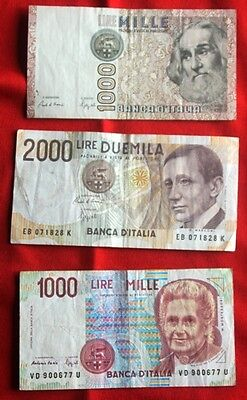 ITALY - 3 x Used Banknotes