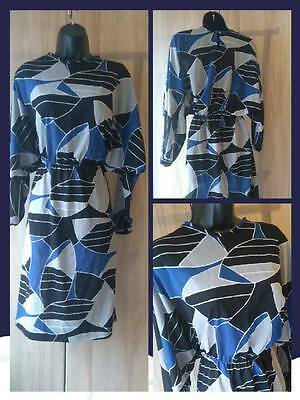 Awesome 1980s retro vintage bold geometric print blue black and grey party dress