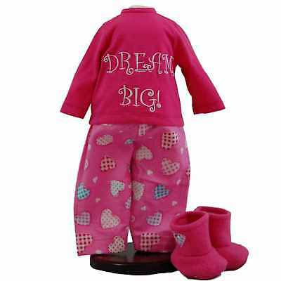 "18"" Doll Clothing DREAM BIG PAJAMA Pants Shirt Shoes Fits American Girl Clothes"
