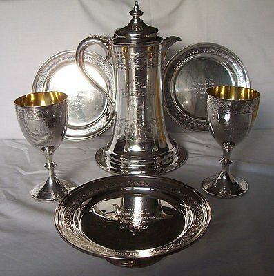 Complete set of Church plate. High Town 1870     Birstall Yorkshire Ewer Chalice