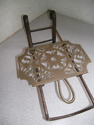 Antique Sliding  Ajustable Brass Fireside Kettle Trivet  - 13 Inches Tall