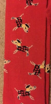 New Next age 11-12 pair of red funky french poodle dog tights