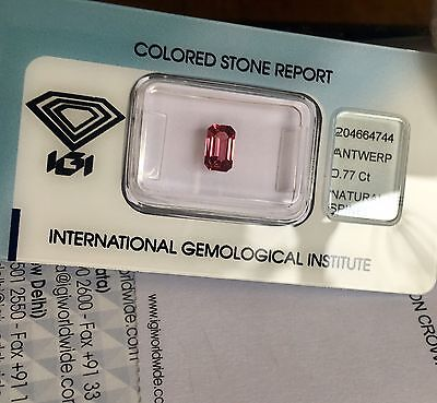 NATURAL Pink Red Spinel UNTREATED Rare IGI CERTIFIED 0.77ct Emerald Cut Burma