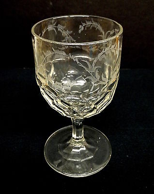 Beautiful 19th C. Flint Glass Goblet, Engraved Honeycomb c1860