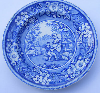 "6"" Historical Staffordshire  Blue & White Plate Boy Woman Dog"