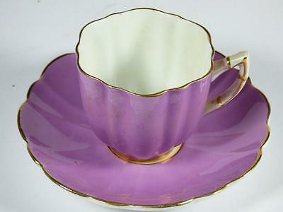 Elegant LILAC Scalloped COFFEE CUP & SAUCER, Bone China, Embossed, 20cm