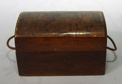 Antique Small Treen Wooden Box Trinket Box Chest With Transfer (4179)