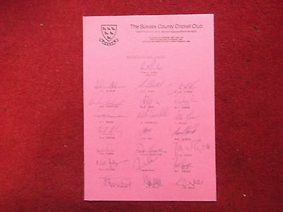 Sussex County Cricket Club 100% Hand Signed Teamsheet 1988 X 22 Sigs Nice