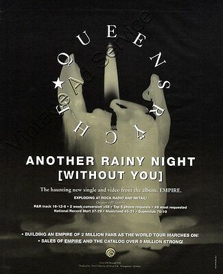 """1991 Queensryche """"Another Rainy Night"""" Original Music Promo Ad"""