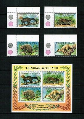 Trinidad and Tobago 1978 Minr 375 - 378 corner set + s/sh 25 ** / mnh animals