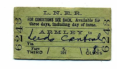 Railway ticket LNER Armley to Leeds Central.