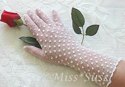 #G2 Ladies White stretchy fishnet gloves beads, sequins, evening, formal, bridal
