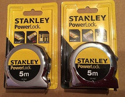 2 New Quality Stanley 5m x 19mm Power Lock Tape Measures 33-552