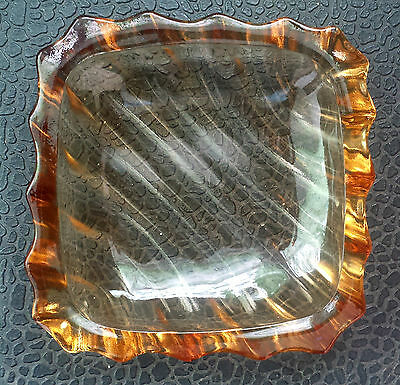 SQUARE  AMBER  GLASS  DISH...has  DIAGONAL  PATTERN  - AS  NEW  CONDITION