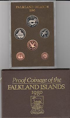 Falkland Islands  1980 ROYAL MINT PROOF CASED SET OF 6 COINS WITH OUTER COVER