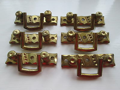 Set Of 6 (Six) Brass Back Plates With Drop Handles - Reclaimed Items In Vgc