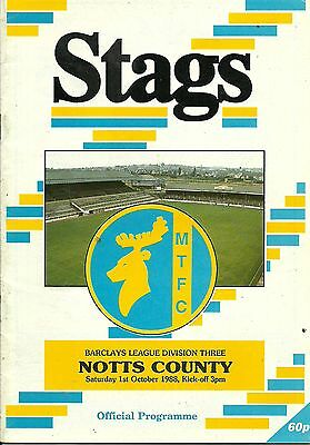Mansfield Town V Notts County  1/10/1988  Div 3  (4)
