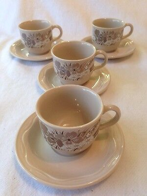 Poole Pottery Mandalay Coffee Cups And Saucers. Set Of 4.