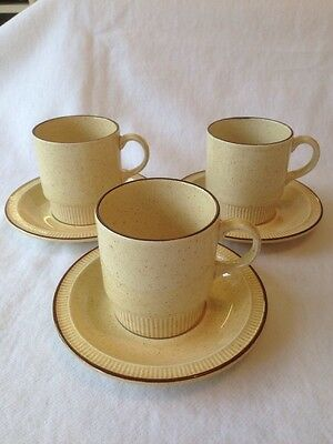 Poole Pottery Broadstone 3 Cups And 3 Saucers. Great Condition.