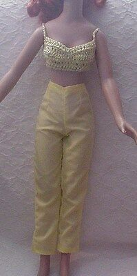 """Yellow Pants & Yellow Crocheted Halter for 18"""" Kitty Collier or Miss Seventeen"""