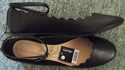 Size 9 (43) Black Flat Ballet Shoes George Brand New