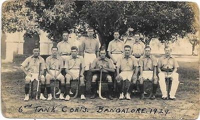 1929 6th Tank Corps Soldiers Hockey Team Bangalore India Used RP Postcard
