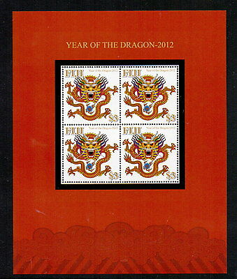 Fiji 2012 Chinese N.year - Year Of The Dragon M/sheet Mnh Cat £13