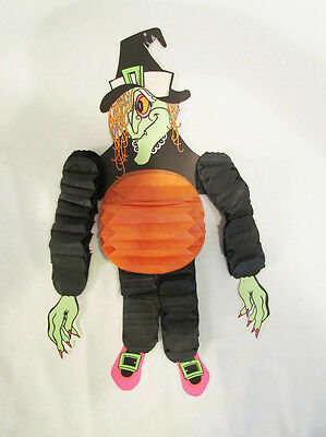 Halloween Witch Beistle Co. Vintage Decoration Cardboard Accordion Crepe Paper