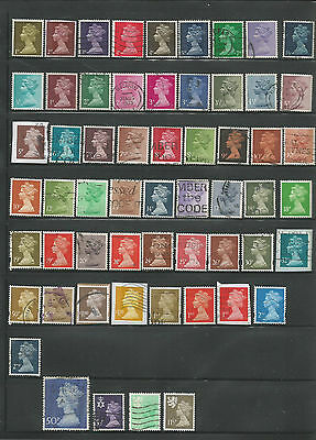 58 Different Used Great Britain Machin Stamps