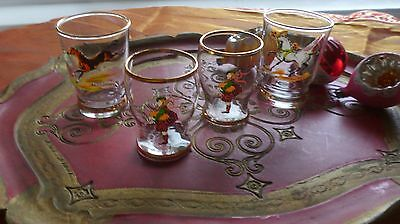 Set of 4 Vintage Horses and Scots Shot/Port Sherry Glasses