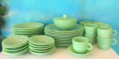 VINTAGE LOT OF 42 pcs. GREEN JADE-ITE DISHES~4-pc. PLACE SETTING FOR 8 + EXTRAS