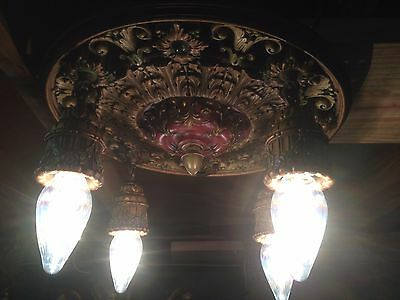 Antique Vintage Composite Art Deco Ceiling Light Fixture Lamp Part