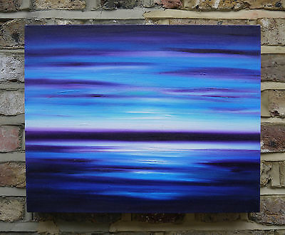 """Abstract Seascape Oil Painting """"Sail on Silver"""" Art by Julia Everett"""