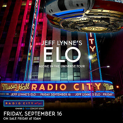 """Jeff Lynne's Electric Light Orchestra """"universe Tour"""" 2016 Nyc Concert Poster"""
