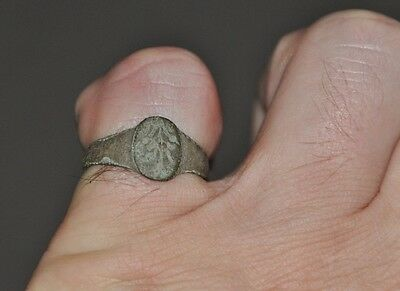 Ancient Authentic Late Roman Empire Legionary Intact Wearable Bronze Ring Sz 7.5