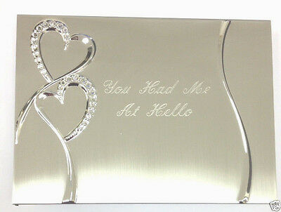 Wedding Photo Album Personalized Engraved Free Silver Hearts Holds 80 4x6 Photos
