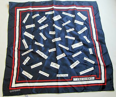 Presidential Signatures on Navy Blue Scarf  by Millicent 21X21""