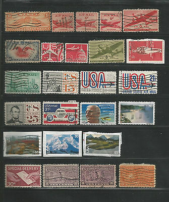 25 Used U.S. Air Mail & Special Delivery Stamps