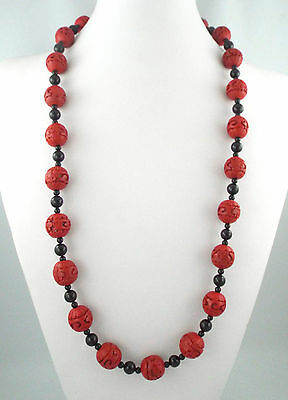 """* Chinese Long Vintage Carved Red Cinnabar - 16Mm - + Black Beads Necklace - 34"""""""