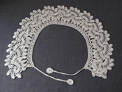 ANTIQUE CREAMY CROCHETED SILKY LACE COLLAR  6341a