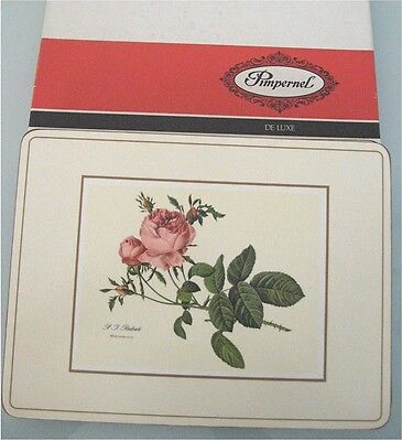 "Vtg Pimpernel Deluxe Place Mats REDOUTE ROSE, Set of 6, 9"" by 12"", Cottage Chic"