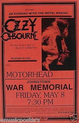 OZZY OSBOURNE / MOTORHEAD 1982 PITTSBURGH CONCERT TOUR POSTER -Heavy Metal Music
