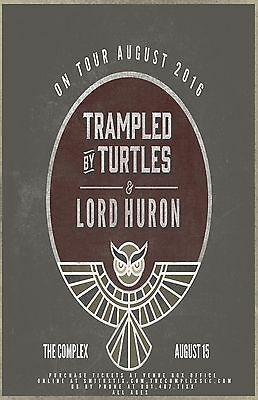 """Trampled By Turtles / Lord Huron """"on Tour August 2016"""" Salt Lake Concert Poster"""